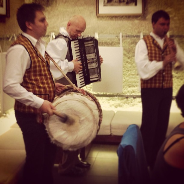 A crazy farewell to Lithuania party complete with traditional Lithuanian pipe, accordion, drum, and vodka
